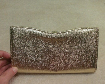 Vintage Gold Lame Clutch Purse With Swift Zipper