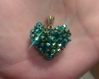 Swarovski Crystal Puffy Heart Pendant Necklace