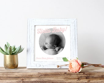 Customizable Baby Girl Birth Announcement (Digital File)