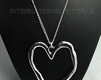 Classic extra long abstract lagenlook polished heart silver pendant necklace curb chain