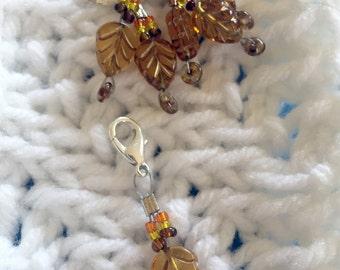 Stitch Marker (brown leaf bead)
