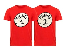 Thing 1, Thing 2 Adult Teens Party Birthday Costume Dr. Seuss Party Red Unisex Tee 1 2 3 4 5 6 Custom Number Thing Shirt and Hoodie