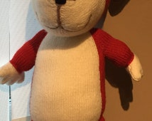 Hand Knitted large Kipper the Dog Soft Toy (ALL proceeds to the Cystic Fibrosis Trust )
