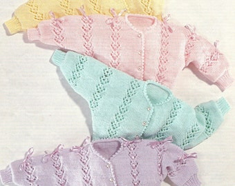 Baby PDF Knitting Pattern Cardigan with Lacy Panels in Double Knitting 14-24 (36-61cm) smaller sizes