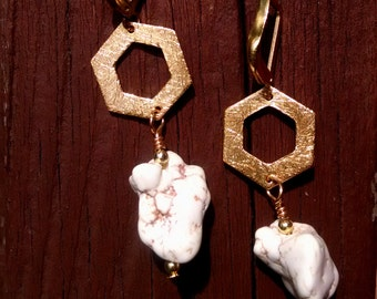 Boho Beauties!  Drop/Dangle White Howlite Nugget Earrings, Gold Plated Hexagon Connector, Brass Secured Hooks
