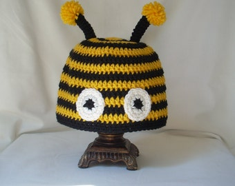 Child Bumble Bee Hat, Boy's Animal Hat, Crochet Animal Hat, Crochet Bug Hat, Insect Hat, Halloween Costume Hat, Yellow and Black Striped Hat