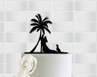 Cake Topper With Dog,Wedding Cake Topper With Dog,Wedding Cake Decor,Tree Cake Topper Dog,Bride and Groom,Custom Wedding Cake Topper