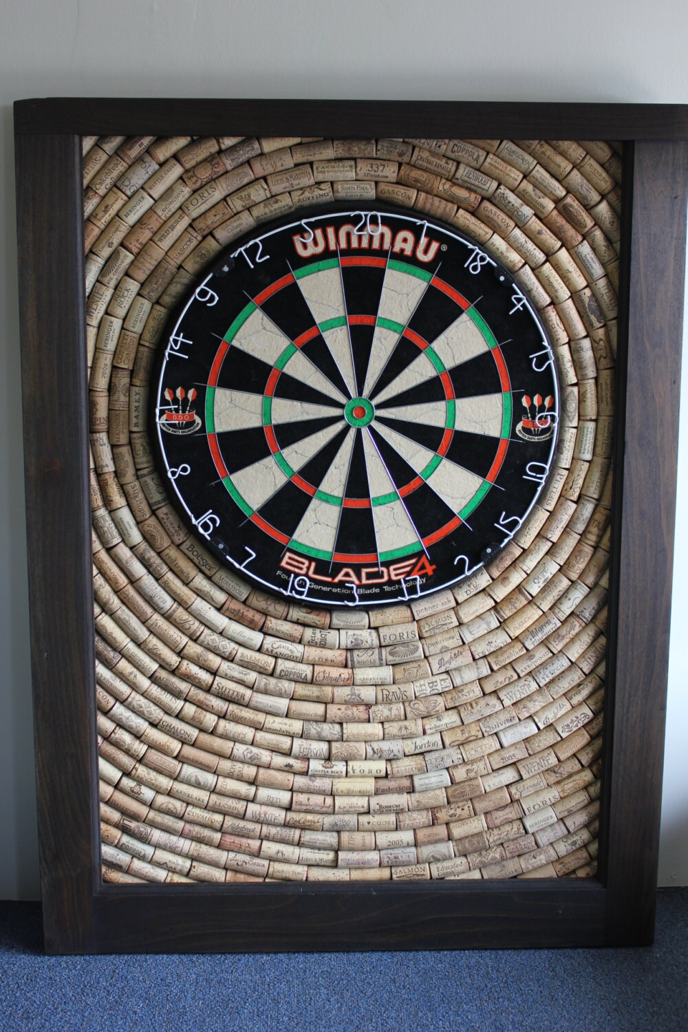 wine cork dartboard backer game room décor salvaged cork