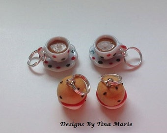 Knitting Stitch Markers Cream Scone & Tea for Two Miniature Food Polymer Clay Charms Cute Fimo Charms Cake
