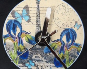 Paris, Eiffel Tower, Butterflies and Irises CD Clock (Can be Personalised)
