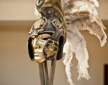 Helmet Mask,Roman Gladiator Helmet,Ancient Roman Helmet,Masquerade Mask,Gold Mask,Costume Hats & Headpieces,Burning Man Costume,Larp Helmet