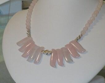Pink Rose Quartz Fan beaded necklace  -  240