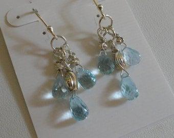 Blue Topaz Earrings  -   #298