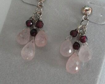 Pink Rose Quartz with Garnets Earrings  -  #395