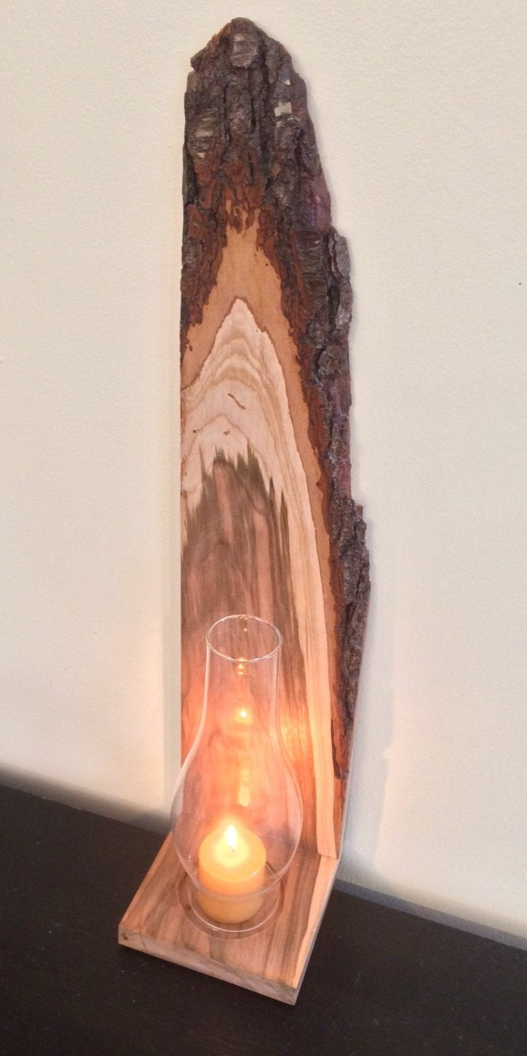 Wall Sconce Glass Chimney : Rustic Wall Sconce Live Edge Cherry w/ Hurricane Chimney