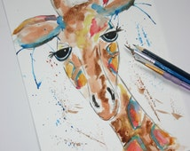 Giraffe watercolour ORIGINAL Florence giraffe, giraffe art, watercolour painting, Original watercolour, watercolour animal, Safari animal