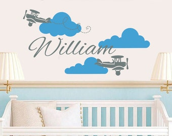 Plane Wall Decal Name Vinyl Sticker Personalized Custom Name Biplane Clouds Decals Airplane Kids Baby Name Boys Nursery Room Decor Art ZX88