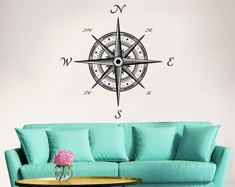 Compass Wall Decal Nautical Compass Rose Navigate Vinyl Sticker Decals Art Home Decor Wall Decal Living Room Bedroom Ship Ocean Sea ZX173