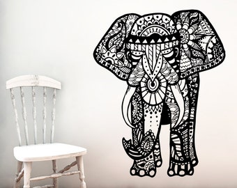 Elephant Wall Decal Vinyl Stickers Yoga Ganesh Decals Tribal Buddha Om Lotus Home Decor Indie Elephant Wall Art Boho Bedding Bedroom ZX184