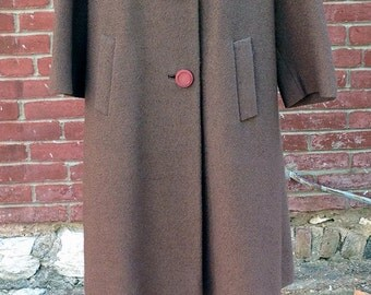 SALE!! Vintage 1960s Brown Wool Swing Coat With Mink Collar