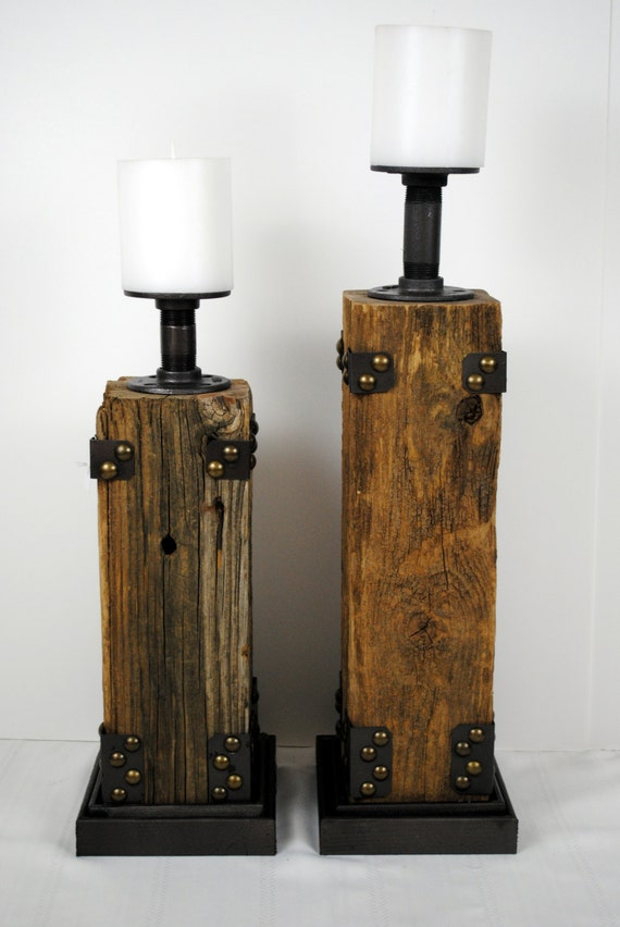 Reclaimed Wood Pillar Candle Holder