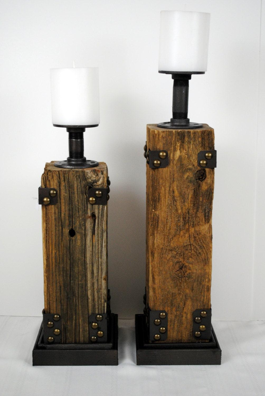 Reclaimed Wood Pillar Candle Holder