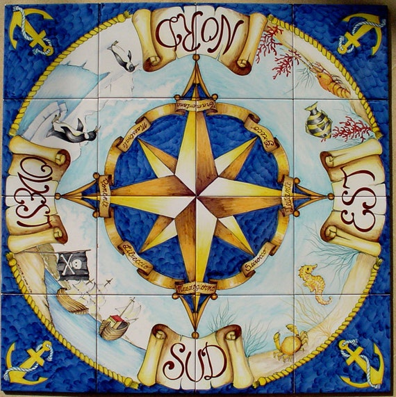 Hand painted compass rose north star compass wall art for Carrelage grand sud