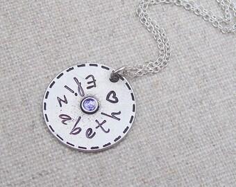 Personalized name necklace, swarovski birthstone, hand stamped, gift for her, birthday necklace, name jewelry, birthstone jewelry