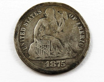 U.S. 1875 S Seated Liberty Dime. Mint Mark above the Bow.