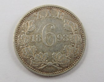 South Africa 1893 Sterling Silver Six Pence Coin.