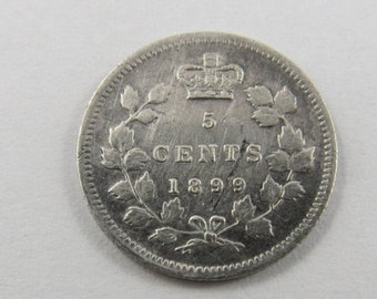 Canadian 1899 Sterling Silver 5 Cent Silver Coin.