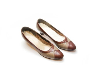 Vintage 1960s Brown Leather Harlequin Pattern Women Pump Shoes 7.5 N by Softaires