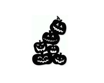 Halloween Pumpkins decal, jack-o-lantern decals, door art, wall art, halloween decor