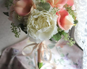 Bridal Bouquet , Silk Bouquet , Wedding Bouquet , Garden Bouquet , Calla lily , Peach , Bouquet with Groom's Boutonniere #No16_002Pea