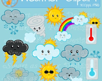 Weather Clipart and digital stamps blacklines Personal and Commercial Use