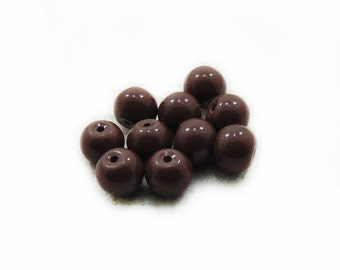 Dark Brown Glass Beads, Brown Glass Beads, Glass Beads, 10 pcs Glass Beads, 8mm Dark Brown Beads, Jewelry Making, Craft Supplies
