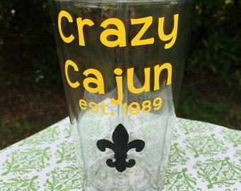 Crazy Cajun Tumbler - Crazy Cajun Cup - Louisiana Cup - Louisiana Tumbler - Ragin Cajun - Southern Pride Cup - Down South Tumbler