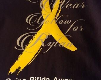 Spina Bifida Awareness T-shirt, Spina Bifida Tee, Awareness, Special Needs Tshirt, Yellow Ribbon Tshirt
