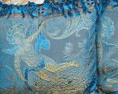 Antique pillows, 1920s Art Deco pair, angel cherub cherubim cupid children, blue brocade, gold maltese cross trim, blue fringe, two 2