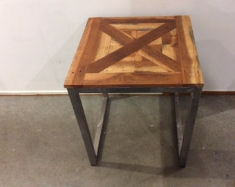 Reclaimed Hardwood parquet style lamp/side table*Brand New*