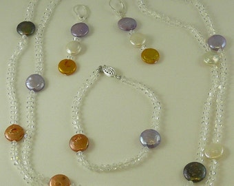 Freshwater Coin Pearl Necklace, Earring and Bracelet with Crystal Set in Silver
