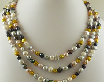 Multicolor Freshwater Pearls Triple Strand Necklace with Sterling Silver Clasp