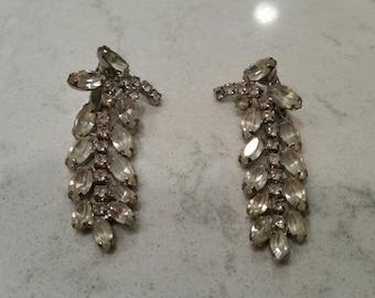 Vintage Rhinestone Dangle Clipon Earrings pinup