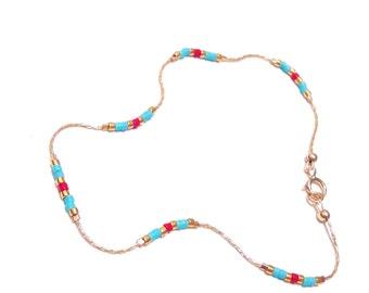 Minimalist  bracelet Delicate Bracelet Tiny Bead Bracelet Thin Gold Bracelet Boho Friendship Bracelet colorful bead bracelet