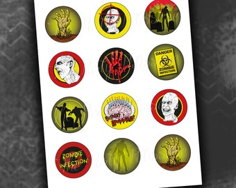 Zombie Birthday Party Cupcake Circles/Toppers / Instant Download / Digital File