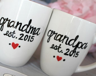 Pregnancy announcement mug- grandma mug- grandpa mug- grandparent mug- new grandparents- pregnancy reveal gift- custom name mug