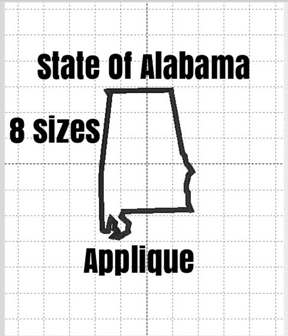 Alabama State Applique Design. Machine Embroidery Applique Pattern. 8 Sizes and 10 formats