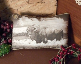 Pillow Tuck: Primitive Rustic Americana Buffalo  Pillow Tuck with Indian Head Button