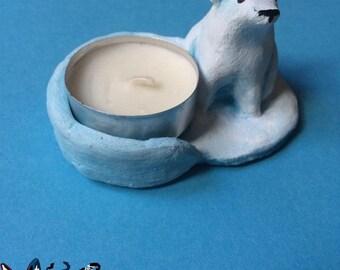 Blue and white polar bear candleholder