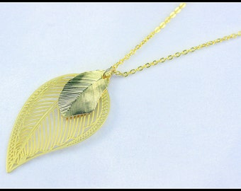 Long Gold Leaf Necklace - Leaf Pendant Necklace - Leaf Necklace - Long Pendant Necklace - Long Necklace